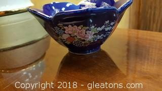 "Small Vintage Cobalt Blue With Gold Trim And Flowers Candy Dish ""Artmark"""