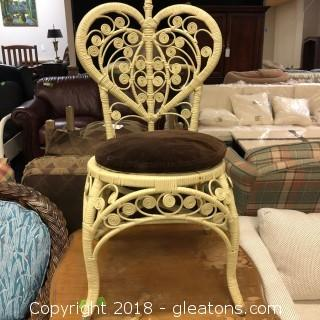 Decorative Wicker Chair Brown Cushion Seat