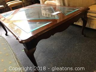 Large Traditional Coffee Table Beveled Glass Top