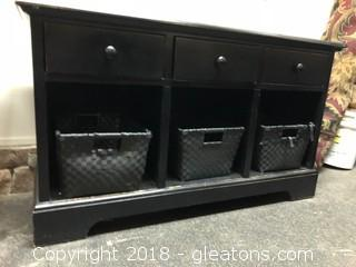 Black Storage Console Bottom Wicker Basket Storage