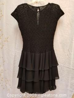 Black Ruffle Short Evening Gown Late Edition LTD Size 8