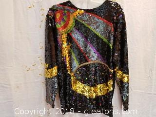 Vintage Multi - Colored Sequin Top Cedars Size Small