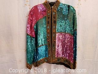 Vintage Multi - Colored Sequin Silk Jacket