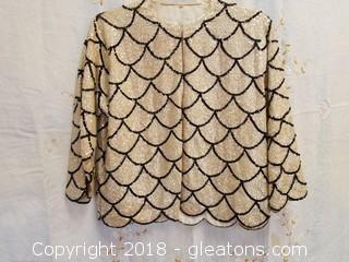 Vintage Black + Iridescent Sequin Jacket Size 44