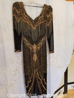 Vintage Black + Gold Sequin Gown