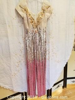 Ivory + Pink Sequin Gown Alyce Designs Size 14