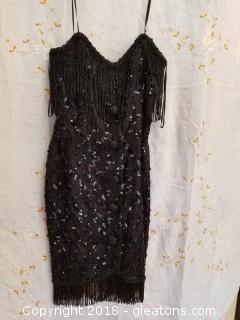 Black Sequin Cocktail Dress Lillie Rubin Size 10