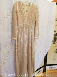 Vintage Ivory + Iridescent Long Gown