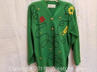 Embroidered Green Sweater Jennifer Roberts