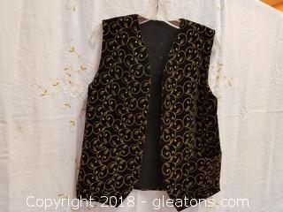 Black Velvet Gold Thread Vest