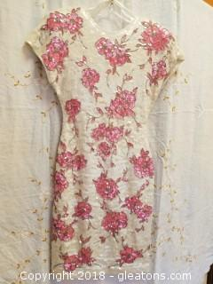 One Of A Kind White And Pink Carmen Marc Valvo Size Small