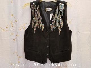 Black Suede With Sequins Vest Jeri Marque Size M