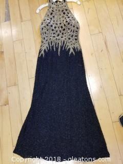 Heavy Gold + Black Open Back Sequin Gown Peak Evenings