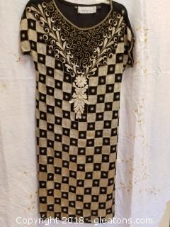 Gold Embroidered Gold Beaded Pure Silk Gown Weatherford's Size M