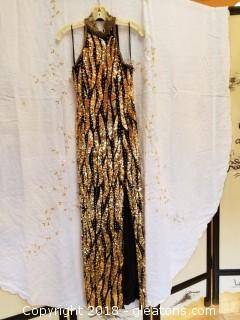 Gold Sequin Black Silk Evening Gown Showtime Size 8
