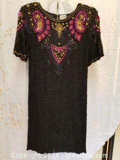 Key Hole Back Sequin Cocktail Dress 100% Silk Ceecee Size M