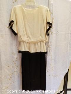 Vintage Ivory + Black Dress A.J.Bari Size 6