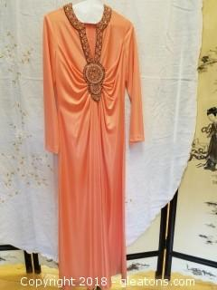 Vintage Coral Dress Jack Bryan Designed By Dupuis Size 12