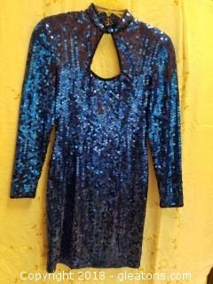 Blue Long Sleeve Sequin Cocktail Dress With Front + Back Keyholes