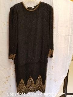 Beaded Black + Gold Evening Dress Laurence Kazar Size M