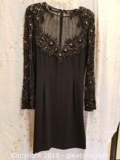Black Sequin + Beaded Dress Lillie Rubin Size 14