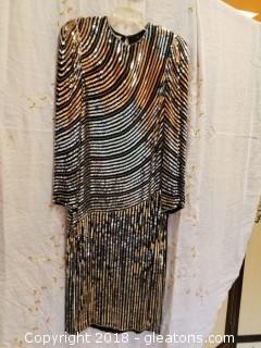 Unique Silver + Black 100% Pure Silk Judith Ann Creations Size Small