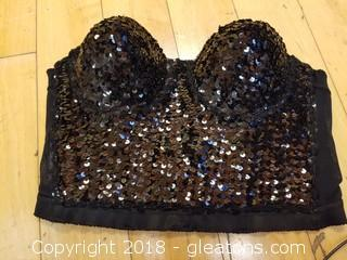 Black Sequin Bustier (B) CEDUXION Size L