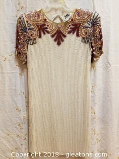 Silk Beaded Dress Niteline Size 10