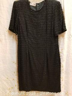 Black Beaded Cocktail Dress Silky Nites