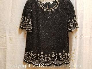 Beaded Evening Top Laurence Kazar Size Small