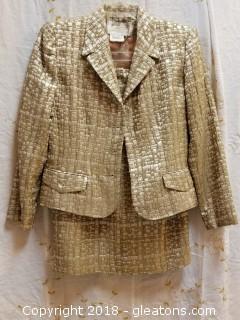 Ivory + Gold Skirt Suit Neiman Marcus Rickie Freeman Petite Size 4