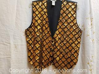 Bronze + Black Sequin Vest Effeci Size L