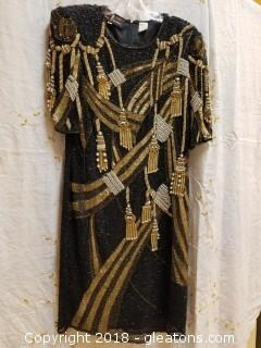 Gold Beaded Gown ATH Day Pinky Creations Size 12