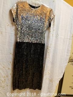 Silver + Black Gown Della Roufogali Size 6