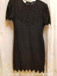 Black Beaded Cocktail Dress Laurence Kazar Size PM