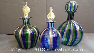 (3) Piece Murano Glass Bottles