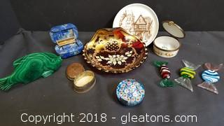 Lot Of Murano Glass Paperweight, Glass Candy, Trinket Boxes, Vintage Plate Glass Fish