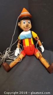 Handmade Wooden Pinocchio Vintage Disney Hand Puppet