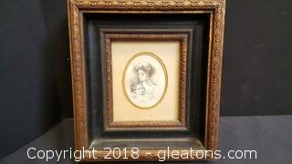 Vintage Wood Scatch Drawing Mother/Daughter Frame