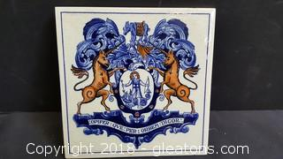 "Vintage Earlier Delft Schoonhoven Holland Tile 6"" Dragon Unicorn Crest"