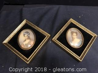 Pr Of Vintage Framed Italian Ladies