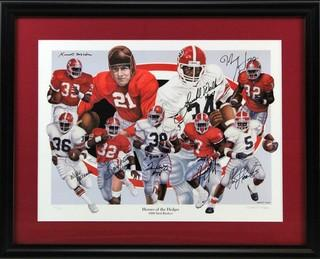 Georgia Bulldogs Multi-Signed Framed Running Back Heroes of the Hedges Limited Edition of 1000 Print with 8 Signatures