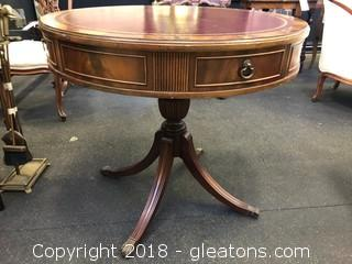 Large Leather Top Drum Table