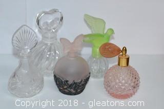 Lot of 5 Glass Perfume Bottles Vintage