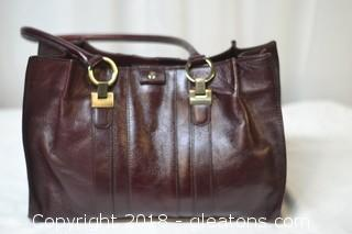 Etienne Aginer  Leather Oxblood Satchel