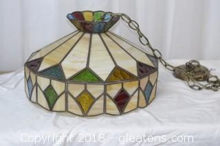 LARGE STAIN GLASS HANGING LIGHT WORKS