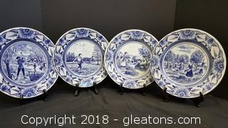 (4) Blue/White Luneville Decorative Plates