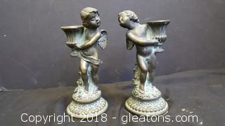 Vintage Petites Choses Cherub Candle Holders