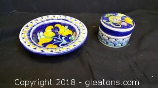 Hand Painted Italian Trinkbox And Small Bowl