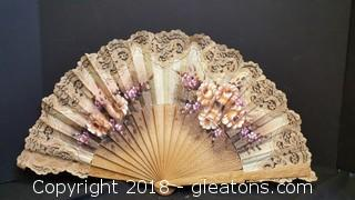 Vintage Italian Wooden/Lace Fabric Hand Fan